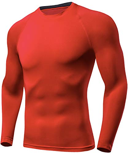 Lavento Men's Compression Baselayer Tops Crewneck Long-Sleeve Dri Fit Undershirts(Red,Large)