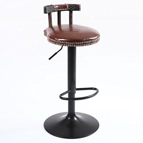 CGN Bar Chaises, tables et chaises Tabouret haut Bois massif Retro Imitation Métal Simple Exquis Gorgeous Lifting Rotation Outdoor Dining Room Club H75cm-95cm la satisfaction (Couleur : B)