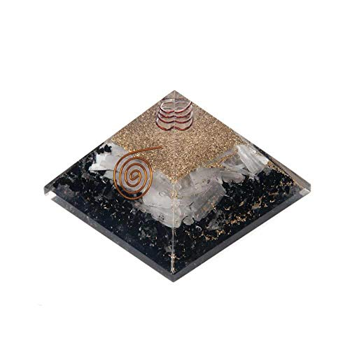 Orgonit Pyramide Schwarzer Turmalin & Selenit (70 mm)