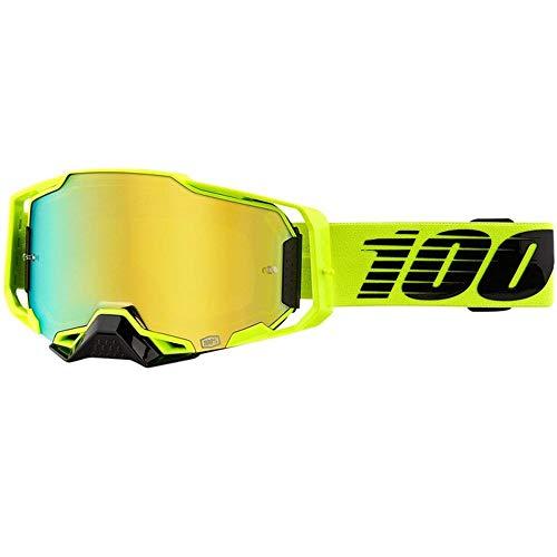 100% Armega Nuccir Motocross MTB Brille neongelb gold verspiegelte Scheibe