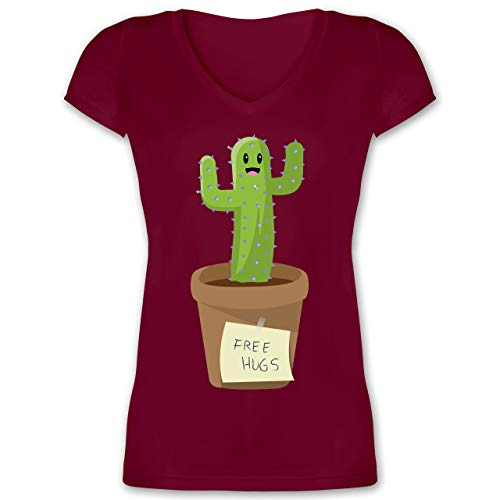 Statement - Free Hugs Kaktus - S - Bordeauxrot - Tshirt Kaktus - XO1525 - Damen T-Shirt mit V-Ausschnitt