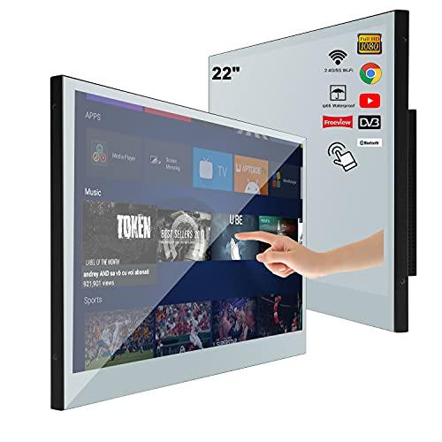 Soulaca Smart Mirror TV con Pantalla táctil de 22 Pulgadas para baño IP66 Televisión a Prueba de Agua Android 9.0 Full HD 1080P con Wi-Fi/Bluetooth y Altavoces Integrados
