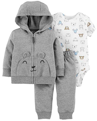 Carter's Baby Boys` 3-Piece Little Jacket Set (9 Months, Gray Multi)