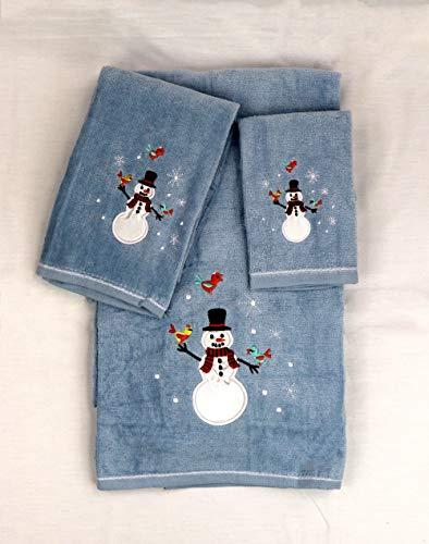 Marina Decoration Christmas Premium Ultra Soft 100% Cotton Embroidered 3 Piece Towel Set, Blue Color Snowman Pattern (Second is