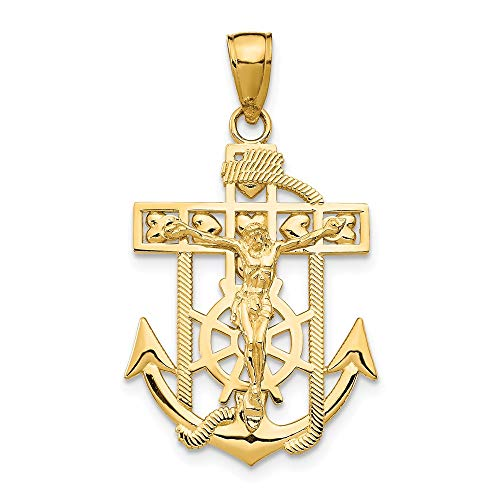 14k Yellow Gold Textured Mini Nautical Anchor Ship Wheel Mariners Crucifix Cross Religious Pendant Charm Necklace Mariner Fine Jewelry For Women Gifts For Her