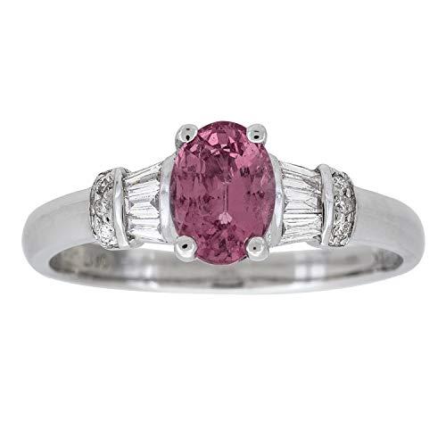 Gin & Grace Oro blanco 14K genuino zafiro rosa con diamante natural (I1, I2) compromiso de la boda Proponer Promise Ring (tamaño 7) para la Mujer