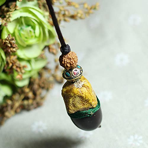 WQZYY&ASDCD Collar De Mujer Collar De Joyería Étnica Vintage Vajra Bodhi Collar Hecho A Mano Nuevo Collar Étnico De Nuez Natural-Verde