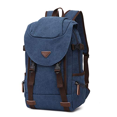 JKHOIUH Men/Women Backpack Daypack Waterproof Vintage Zipper Canvas School Laptop Bag Outdoor Hiking Briefcase (Color : Navy blue)