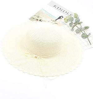 サンハット2019春と夏の新しい折りたたみ式弓麦わら帽子韓国語バージョンの海辺の休日レジャー漁師帽子ビッグバイザー 帽子 (色 : Milk white, サイズ : Adjustable)