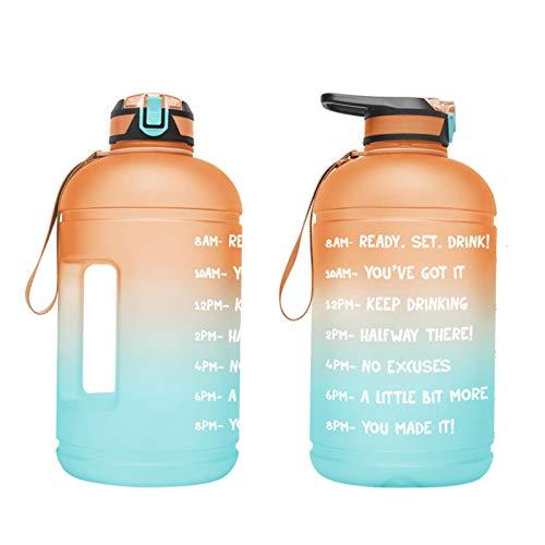 Riverry Botella de Agua de Agua Deportiva 1 galón Portátil Portátil Deporte Botella de Agua con Paja y Hora Botella de Bebida de plástico no tóxico para Gimnasio Deportivo Ciclismo good