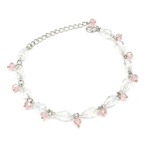 Rosa con perle di vetro sfaccettate perle a goccia silver-tone cavigliera