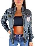 Worldclassca Damen Bomber Jacke MIT Army MILITÄR Patches ÜBERGANGSJACKE Bomberjacke Blouson Piloten Jacke Fliegerjacke Blogger Clubwear NEU REIßVERSCHLUSS NEU XS-L (S/M - (34-38), Grau 2)