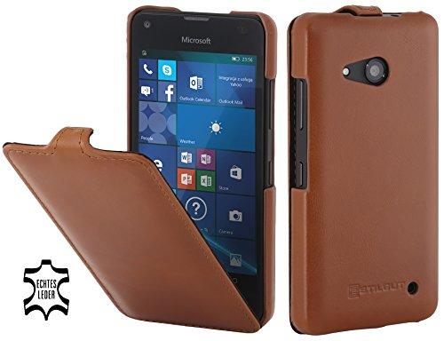 StilGut UltraSlim Hülle, Tasche aus Leder für Microsoft Lumia 550, Cognac