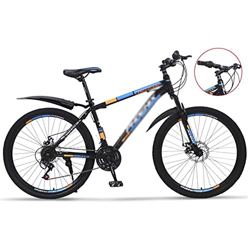 Mountain Bike Bicicletta MTB Adult Mountain Bike 26 Pollici Ruote Mountain Trail Bike Bike Ad Alta Carbonio Acciaio di Carbonio Bicylecy Bicycle Bicycle Bicycle Suspension M(Size:24 Speed,Color:Blu)