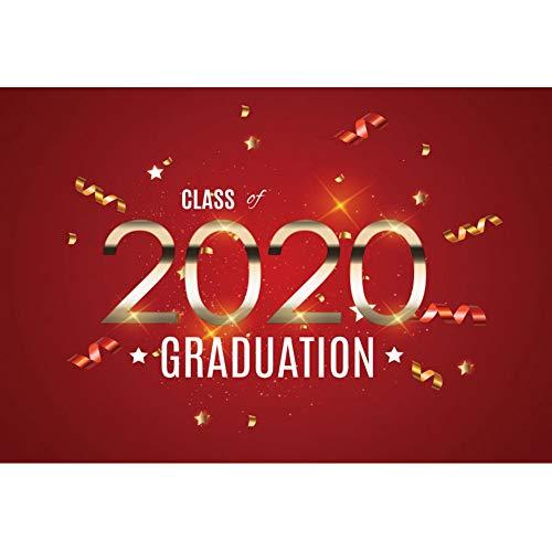 Yeele 3x2m Graduatie Fotografie achtergrond voor studenten Klasse van 2020 Ribbon Glitters Rood Behang Foto Achtergrond voor fotografie Kinderen School Graduate Prom Foto Rekwisieten