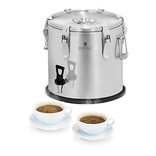 Royal Catering RCTP-20DT Thermobehälter Gastro Transportbehälter für Speisen (20 L, doppelwandig mit Isolierung, 6–8 h Wärmespeicherung, Ablasshahn) Edelstahl