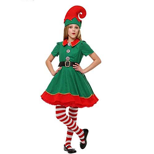 IFIKK Costume de Père Noël Vert Costume de Lutin de Noël Enfant Cosplay Vêtement Parent-Enfant Déguisement Adulte Homme Femme Fille Elfe de Noël Costume Le Carnaval et Le Cosplay