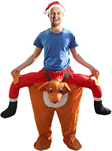 Reindeer Fancy Dress Costumes,Christmas Cosplay Ride On Costume Carry Me On Shoulder Funny Costumes for Adults,Men&Women, One Size Fits Most. Red