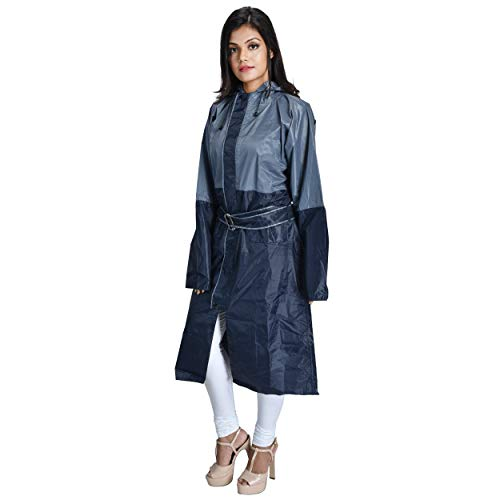 THE DRY CAPE ; LET IT RAIN rain Coats for Women Waterproof Best Ladies Girls Raincoat (Blue Grey; XL)