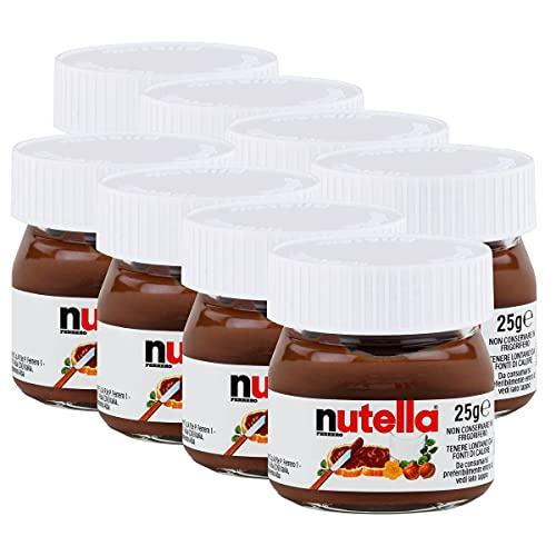 FERRERO Nutella - Botes de Nutella en miniatura de cristal, set de 8 unidades de 25 g, crema de avellanas y chocolate para untar