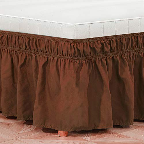 GYHH Easy Fit Wrap Around Ruffled Bed Skirt,Elastic Bed Ruffles Bed Skirt,100% Microfiber (easy To Match, A Variety of Sizes and Colors Match) (Coffee,Twin39*75+15inch)