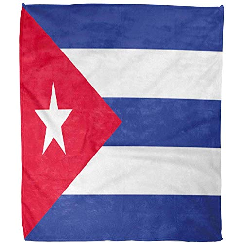 Throw Blanket Emblema De La Bandera Cubana Cubana Símbolo Gráfico Fuzzy Office Throw Blanket Blanket Warm Hotel Bed Sofá Fleece Blanket Living Room 102X127Cm