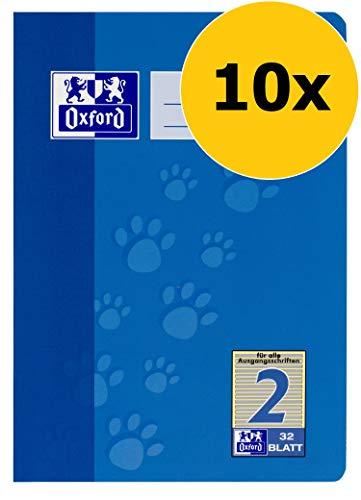Oxford Schule Schulheft A5, liniert, Lineatur 2, 32 Blatt, blau, 10er Pack