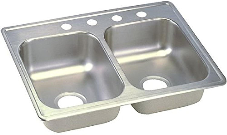 Elkay D22519MR2 22 Gauge Stainless Steel 25  X 19  X 6.3125  Double Bowl Top Mount Kitchen Sink