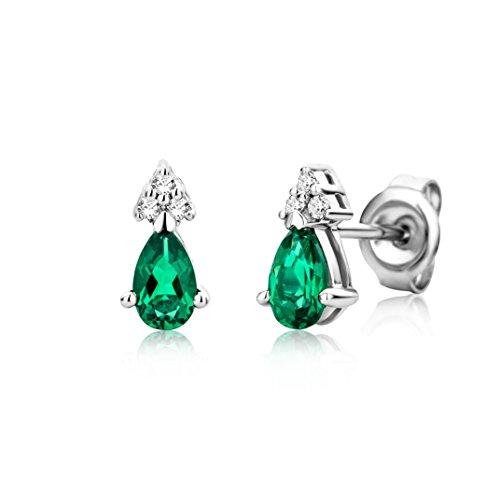Miore Orecchini Donna Piccoli a Lobo con Diamanti taglio Brillante Smeraldo Oro Bianco 9 Kt / 375