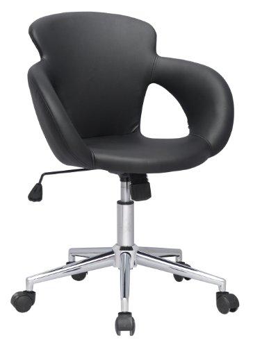 SixBros. Bürostuhl Moderner Schreibtischstuhl, Stabiler Sternfuß, Drehstuhl mit stufenloser Höhenverstellung, Kunstleder PU Schwarz M-65335-1/724