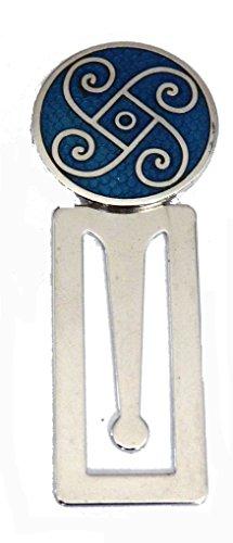 Emaille grün Keltisches Spiralen Design Lesezeichen, mit Chrom Basis (0293)