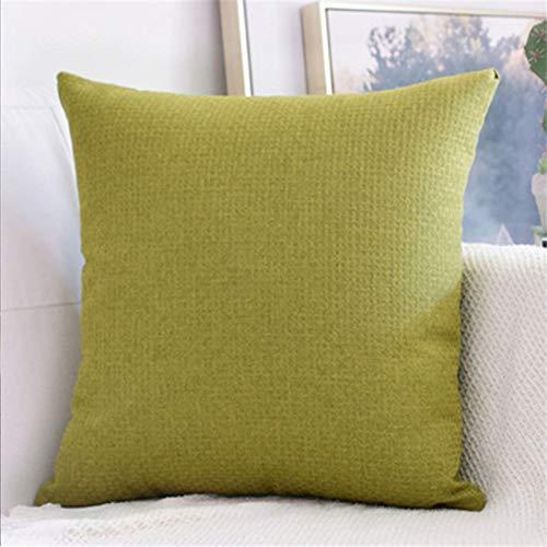 Almohada de color sólido para el hogar, sofá, almohada grande, accesorios para el coche, cojín lumbar, simple, verde, 55 x 55 cm