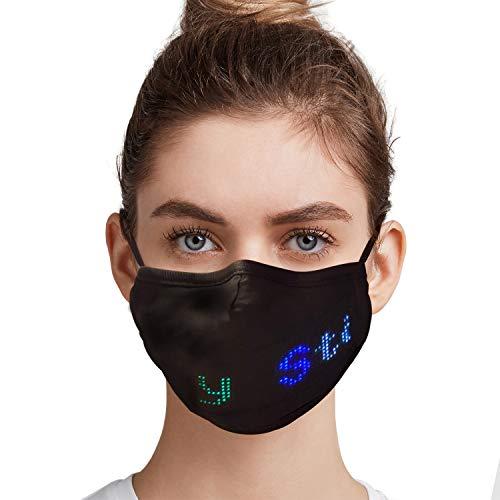 TASWELL Bluetooth LED Programmierbare Gesichtsbedeckung, Custom Sign USB Wiederaufladbar leuchtend leuchtend für Männer Frauen Party Dancing Rave Masquerade Kostüm