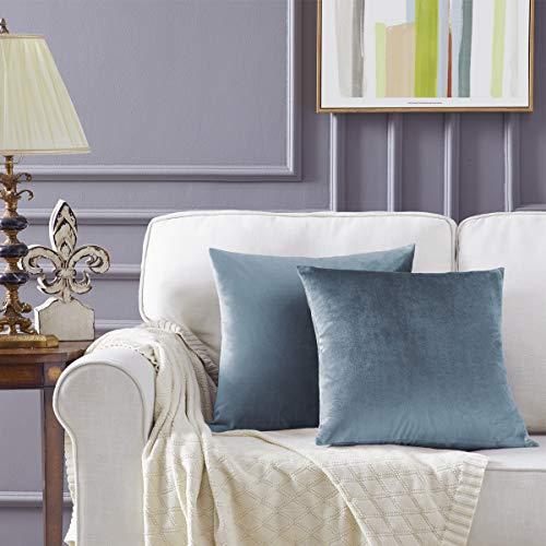 Gigizaza Gris Azul Terciopelo Almohada Cubre Caso Suave decoración Fundas de de cojín para sofá Dormitorio Coche Cama Casa Decor 50x50cm ,Pack de 2