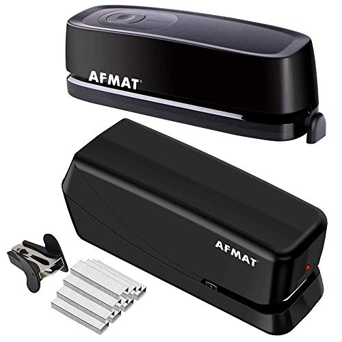 AFMAT Electric Three Hole Punch Heavy Duty, 20-Sheet Punch Capacity, AC or Battery Operated Paper Puncher and Heavy Duty Stapler, 25 Sheets, AC or Battery Powered Electric Stapler