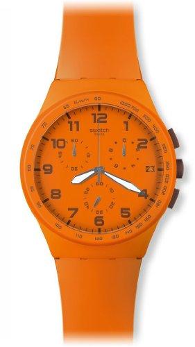 Swatch Unisex-Armbanduhr Chrono Plastic WILD ORANGE SUSO400 Chronograph Silikon SUSO400