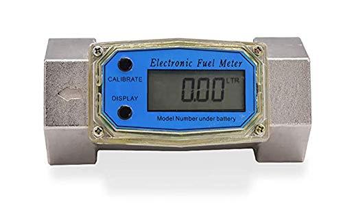 CGOLDENWALL 2-26.4 GPM (9-100 LPM) Turbine Flow Meter Electronic Digital Flowmeter Liquid Water Meter Fuel Meter Gas Diesel Fuel Oil Flowmeter LCD Display Gasoline, Kerosene Fuel Flow Meter (1 inch)