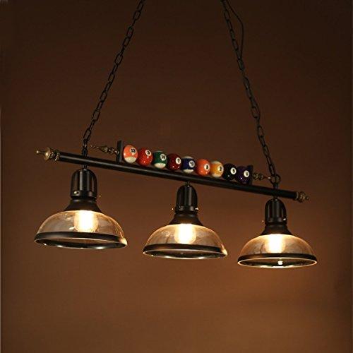 AMOS Poste moderna lámpara de billar de cristal de hierro forjado candelabro de billar de hierro forjado dormitorio café restaurante iluminación (Tamaño : 98 * 30cm)