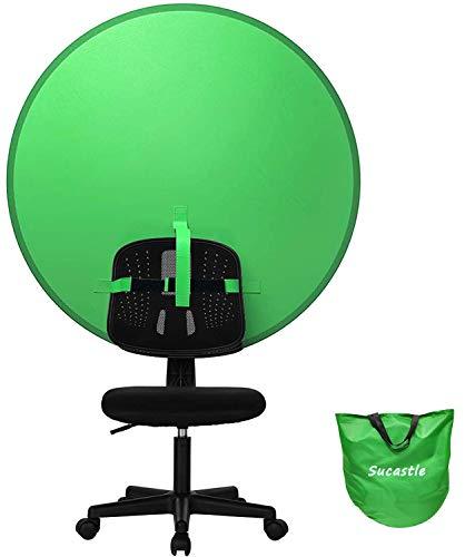 Greenscreen, Sucastle 4.7Ft Faltbar Greenscreen für Stuhl mit Tragetasche, 100% Polyester Green Screen Foto Hintergrund für Fotografie, Zoom, Video und Streaming Spiele, Doppelseitiger Chromakey Grün