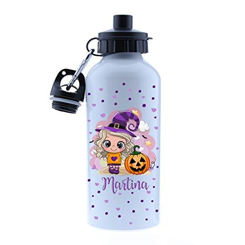 Kembilove - Cantimplora Halloween de Bruja Personalizada con Nombre niña – Botella de Aluminio Personalizada con el Nombre del Niño o Niña – Capacidad 500 ml peques de Bruja Modelo 2