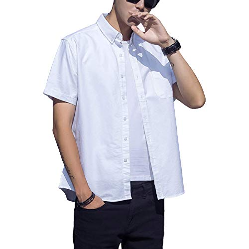 Camisas de Manga Corta para Hombre, de Corte Regular, Color sólido, clásico, básico, Informal, con Botones, Blusas de Primavera y Verano X-Large