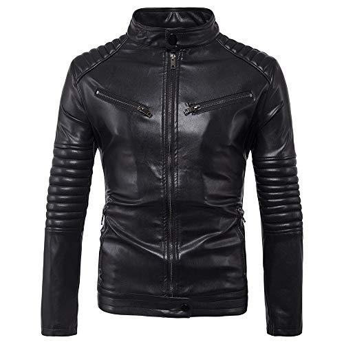Para hombre Chaqueta de cuero con cremallera Negro de gran tamaño chaqueta de cuero de tracción de la locomotora chaqueta de cuero chaqueta de cuero hermosas de los hombres de Casual chaqueta
