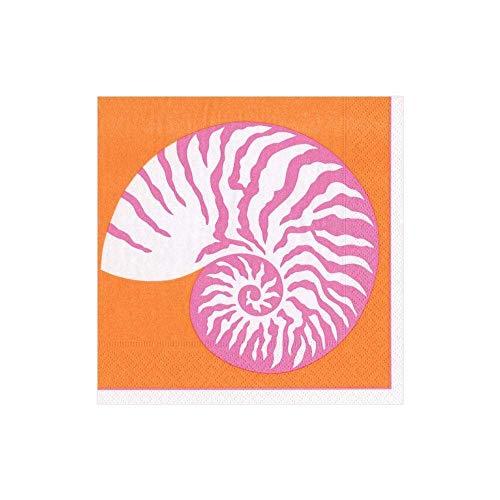 Caspari 13780C Paper Cocktail Napkins in Coral, Per Package Nautilus Papierservietten, Korallenrot, 20 Stück, Papier, mehrfarbig