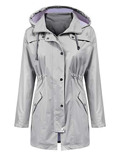 LOMON Raincoat Women Waterproof Long Hooded Trench Coats Lined Windbreaker Travel Jacket Gray XL