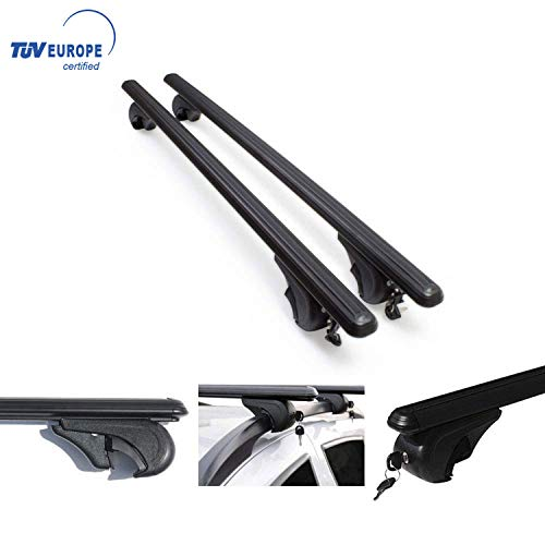 OMAC USA Roof Racks Lockable Cross Bars Carrier Cargo Racks Rail Aluminium Black Set 2 Pcs. for VW Golf ALLTRACK 2017- with TUV CERT