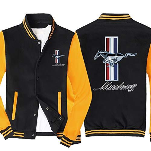 Chaqueta Para Hombre Chaquetas De Varsity Para Mustang Impreso Baseball Jersey Sudadera De Manga Larga Spring Casual Sapa Abrigo - Regalo Yellow-3X-Large