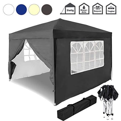 Froadp Faltpavillon 3x3m Gartenpavillon mit 4 Seitenteilen Sonnenschutz Pavillon mit Tasche Wasserdicht Festzelt UV-Schutz Partyzelt für Garten Party Hochzeit Picknick(Anthrazit)