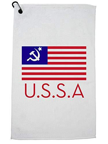 Hollywood Thread USSA - Vlag van de Verenigde Staten met Communistische Invloed Golf Handdoek met Karabijnhaak Clip