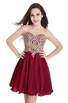 Short Beaded Prom Dress Tulle Gold Applique Homecoming Dress  Burgundy,16