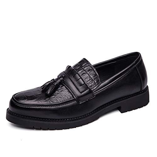 L-YIN Borlas Loafer para Hombres Redondo Moc Toe Costura en Relieve Color sólido Caucho Sole Block Tacón de Cuero sintético Slip-On Black (Color : Black, Size : 42 EU)